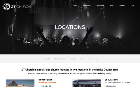 Screenshot of Locations Page gtaog.org - GT Church     Locations - captured Aug. 5, 2017
