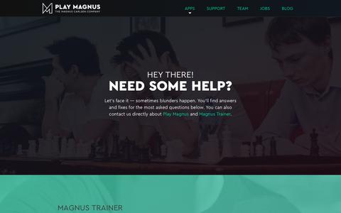Screenshot of Support Page playmagnus.com - Support - Play Magnus - captured Aug. 10, 2017