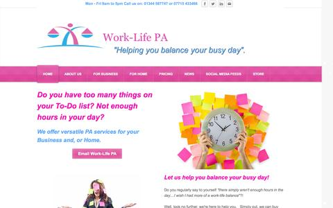 Screenshot of Home Page work-lifepa.co.uk - Work-Life PA - Home - captured Oct. 7, 2014
