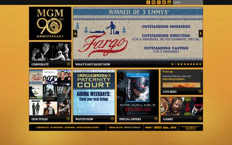 Screenshot of Home Page mgm.com captured Sept. 19, 2014