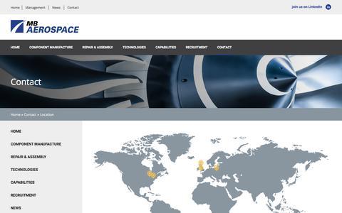 Screenshot of Locations Page mbaerospace.com - Location - MB Aerospace - captured May 26, 2017