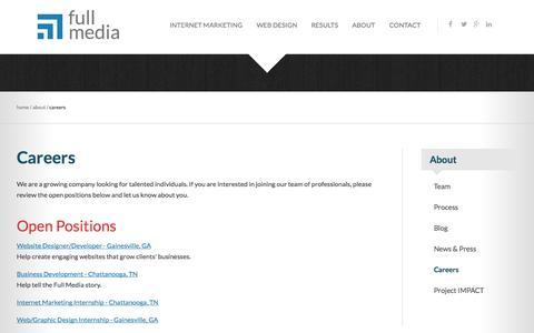 Screenshot of Jobs Page fullmedia.com - Join Our Team | Full Media - captured Oct. 30, 2014