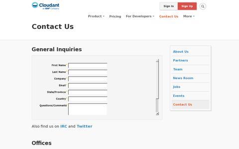 Screenshot of Contact Page cloudant.com - Contact Us | Cloudant - captured July 20, 2014