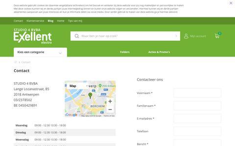 Screenshot of Contact Page exellent.be - Contact   STUDIO 4 BVBA - captured Oct. 28, 2018