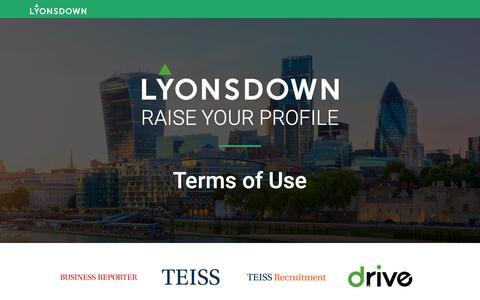 Screenshot of Terms Page lyonsdown.co.uk - Terms of Use – Lyonsdown - captured Dec. 8, 2018
