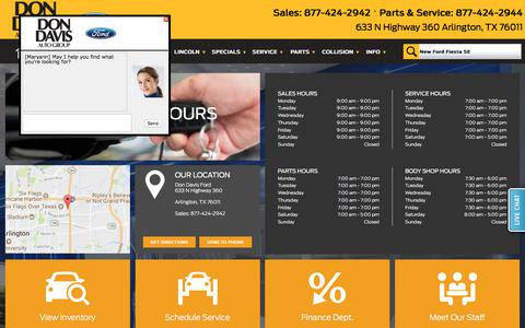 Screenshot of Hours Page dondavisautogroup.com - Hours of Operation - Don Davis Ford - captured Jan. 28, 2018