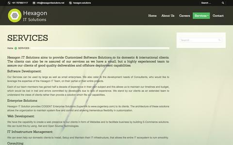 Screenshot of Services Page hexagonitsolutions.net - Hexagon IT Solutions |   SERVICES - captured Nov. 1, 2014
