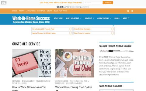 Screenshot of Support Page workathomesuccess.com - 'Customer Service' Articles at Work At Home Success - captured Oct. 22, 2017