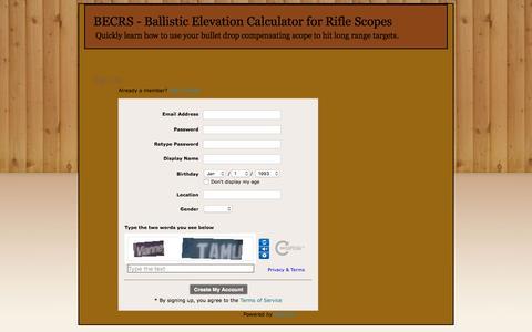 Screenshot of Signup Page becrs.com - Signup - BECRS - Ballistic Elevation Calculator for Rifle Scopes - captured Nov. 10, 2016