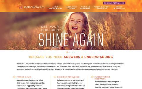 Screenshot of Home Page moleculera.com - PANDAS and PANS - autoimmune disorders that affect children. - captured Aug. 11, 2015