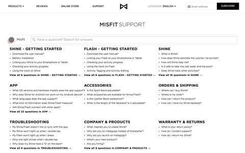 Screenshot of Support Page misfitwearables.com - Misfit - captured Nov. 3, 2014