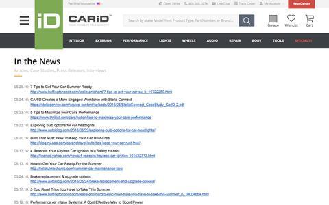 Screenshot of Press Page carid.com - CARiD.com in the News - captured July 9, 2016