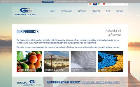 Screenshot of Products Page guzmanglobal.com - Our Products - Guzman Global - captured June 5, 2016