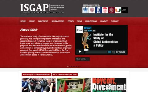 Screenshot of Home Page isgap.org - ISGAP – Institute for the study of Global Antisemitism and Policy | Fighting antisemitism on the battlefield of ideas - captured Oct. 4, 2014