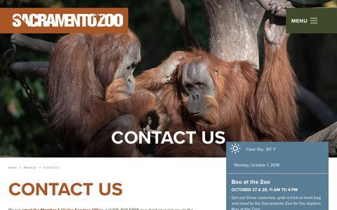 Screenshot of Contact Page saczoo.org - Contact Us at the Zoo | Sacramento Zoo - Sacramento, CA - captured Oct. 1, 2018