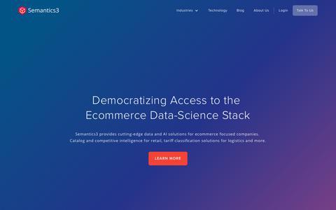 Screenshot of Home Page semantics3.com - Semantics3: The Ecommerce Data and AI Platform - captured Aug. 18, 2019