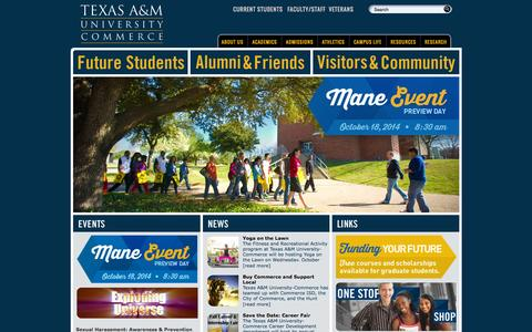 Screenshot of Home Page tamuc.edu - Texas A&M University-Commerce - captured Sept. 25, 2014