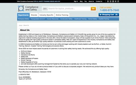 Screenshot of About Page complianceandsafety.com - About Us - captured Sept. 19, 2014