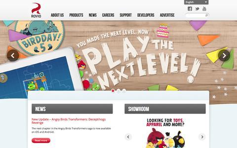 Screenshot of Home Page rovio.com - Welcome to Rovio.com! - Rovio Entertainment Ltd - captured Jan. 15, 2015