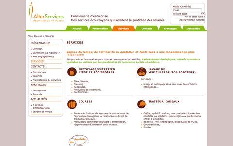 Screenshot of Services Page alterservices.fr - Services -  - Conciergerie d'entreprise - Des services éco-citoyens qui facilitent le quotidien des salariés - captured Sept. 30, 2014