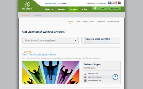 Screenshot of Support Page ecobee.com captured Sept. 15, 2014