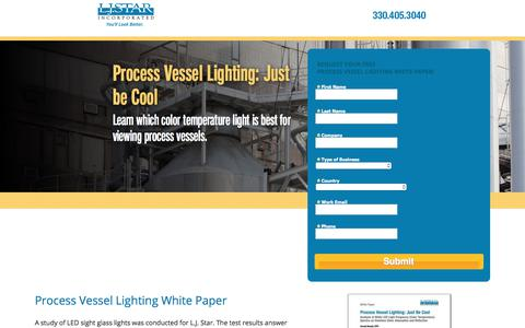 Screenshot of Landing Page ljstar.com - Process Vessel Lighting Study: L.J. Star Incorporated - captured Sept. 7, 2017