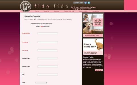 Screenshot of Signup Page fidofido.com - Sign-up For Newsletter - captured Oct. 6, 2014
