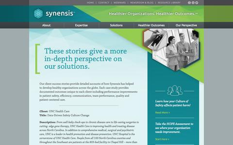 Screenshot of Case Studies Page synensishealth.com - Hospital Safety Culture Results - captured Oct. 7, 2014