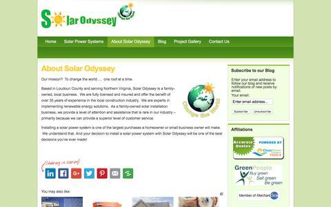 Screenshot of About Page solarodysseyinc.com - About Solar Odyssey - Solar Odyssey, Inc. - captured June 15, 2017