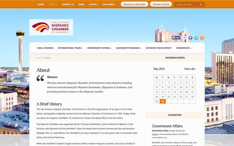 Screenshot of About Page sahcc.org - About   San Antonio Hispanic Chamber of Commerce - captured Oct. 1, 2014
