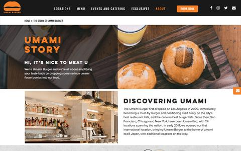 Screenshot of About Page umamiburger.com - What is Umami? The Story of Umami Burger Restaurants - captured July 5, 2017