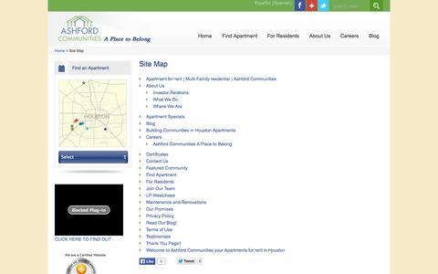 Screenshot of Site Map Page ashfordco.com - Official Sitemap | Ashford Communities - captured Nov. 2, 2014