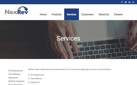 Screenshot of Services Page nexrev.com - NexRev - captured Nov. 12, 2017
