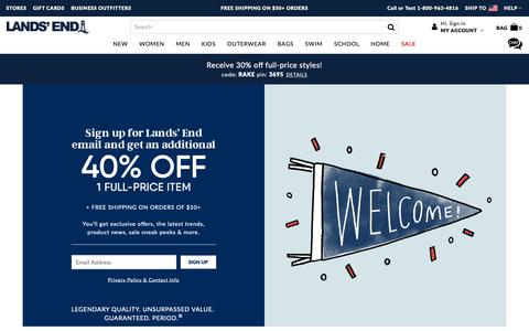 Screenshot of Signup Page landsend.com - Lands' End | Swimwear, Outerwear, Casual Clothing and more - captured Oct. 18, 2018