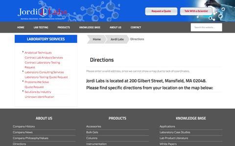 Screenshot of Maps & Directions Page jordilabs.com - Corporate Headquarters, Laboratory Direction, Map - captured Oct. 29, 2014