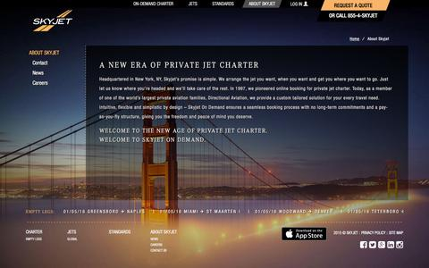 Screenshot of About Page skyjet.com - Private Jet Charter | Private Aviation - Skyjet - captured Jan. 11, 2016