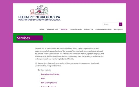Screenshot of Services Page pediatricneurologypa.com - Services – Pediatric Neurology PA - captured July 12, 2016