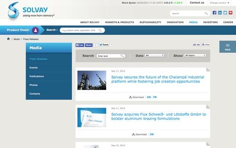 Press Releases|Solvay