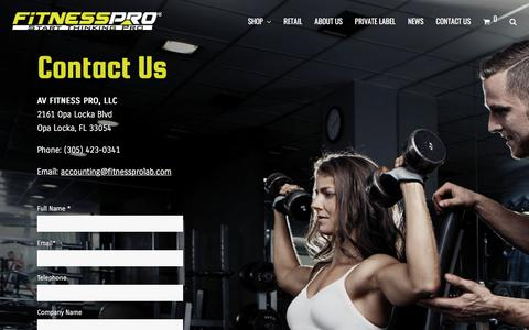 Screenshot of Contact Page fitnessprolab.com - Contact Us – Fitness Pro Lab - captured July 7, 2018