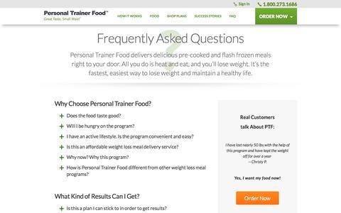 Screenshot of FAQ Page personaltrainerfood.com captured Oct. 7, 2019