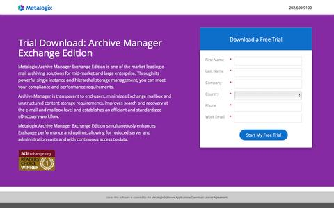 Screenshot of Landing Page metalogix.com - Trial Download : Archive Manager Exchange Edition - captured Feb. 27, 2017