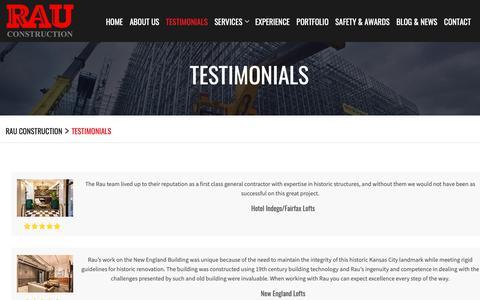 Screenshot of Testimonials Page rauconstruction.com - Testimonials | Rau Construction - captured Nov. 18, 2018