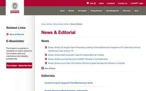 Screenshot of Press Page oil-testing.com - News & Editorial   Bureau Veritas - captured May 30, 2017
