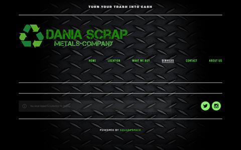 Screenshot of Services Page daniascrap.com - Services — DANIA SCRAP METALS - captured Feb. 8, 2016