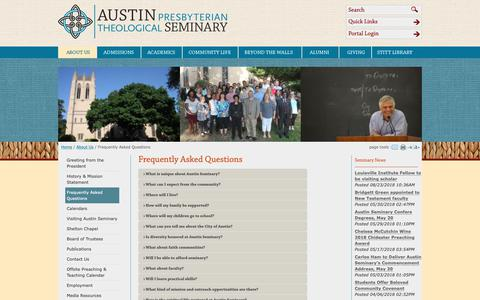 Screenshot of FAQ Page austinseminary.edu - Austin Presbyterian Theological Seminary: Frequently Asked Questions - captured Oct. 4, 2018