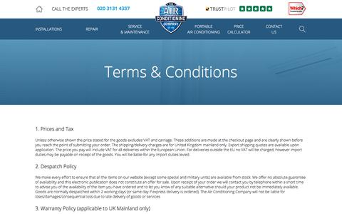 Screenshot of Terms Page airconco.com - Terms and Conditions   The Air Conditioning Company - captured Jan. 7, 2020