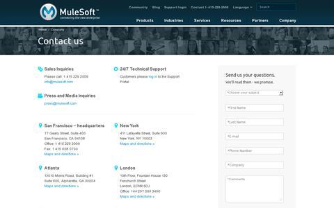 Screenshot of Contact Page mulesoft.com - Contact | MuleSoft - captured July 20, 2014