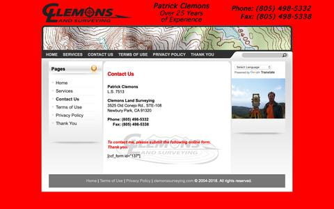Screenshot of Contact Page clemonssurveying.com - Clemons Land Surveying - Contact Us - captured Sept. 28, 2018