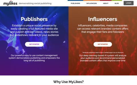Screenshot of Home Page mylikes.com - MyLikes - democratizing social media publishing - captured Jan. 9, 2017