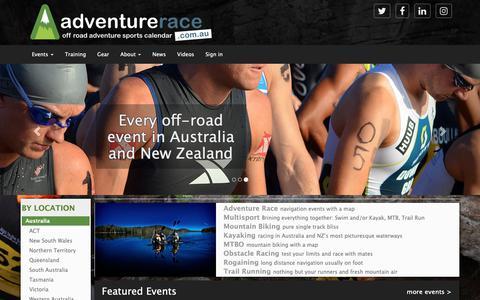 Screenshot of Home Page adventurerace.com.au - Off-road Adventure Sports Calendar - captured Nov. 12, 2018